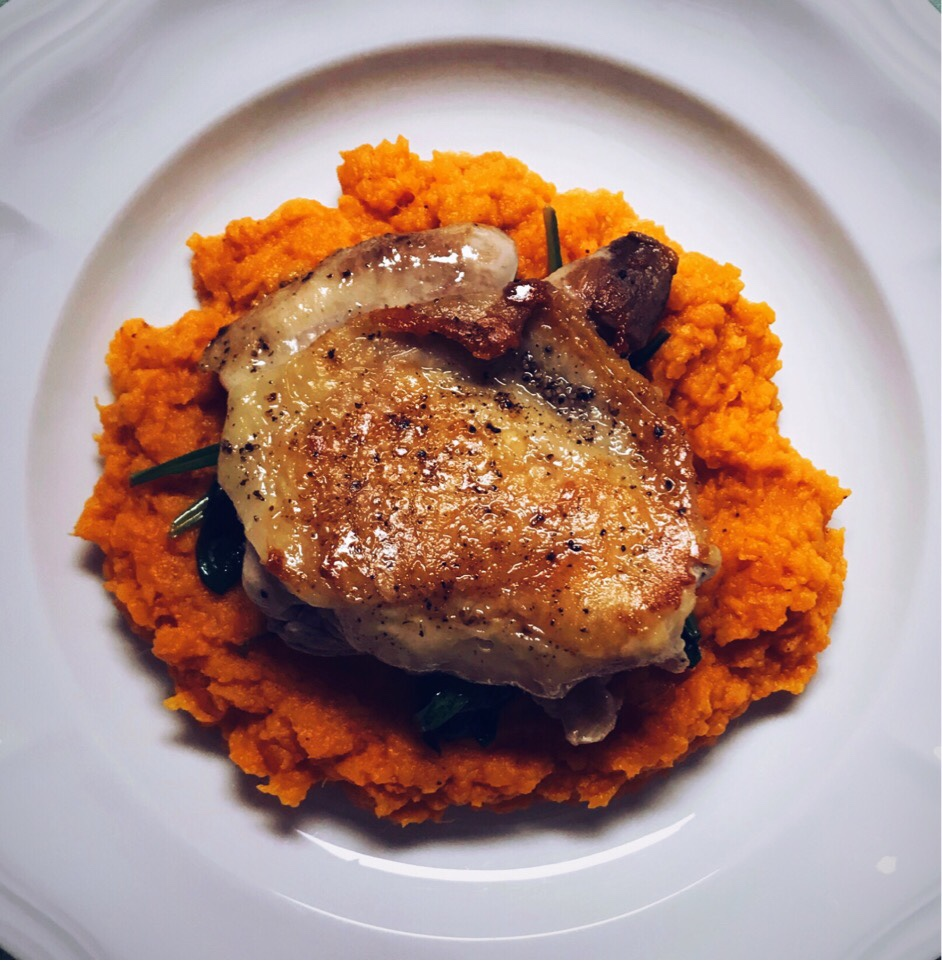 Sous vide Chicken Thigh and Sweet Potato Purée